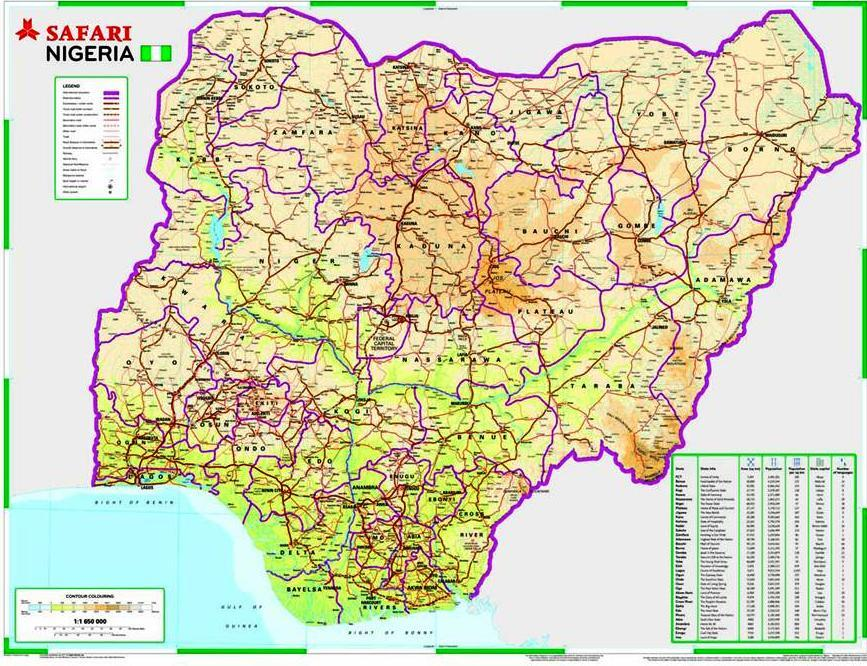 Nigeria Veikart Avstand Kart Over Nigeria Road Distance Vest