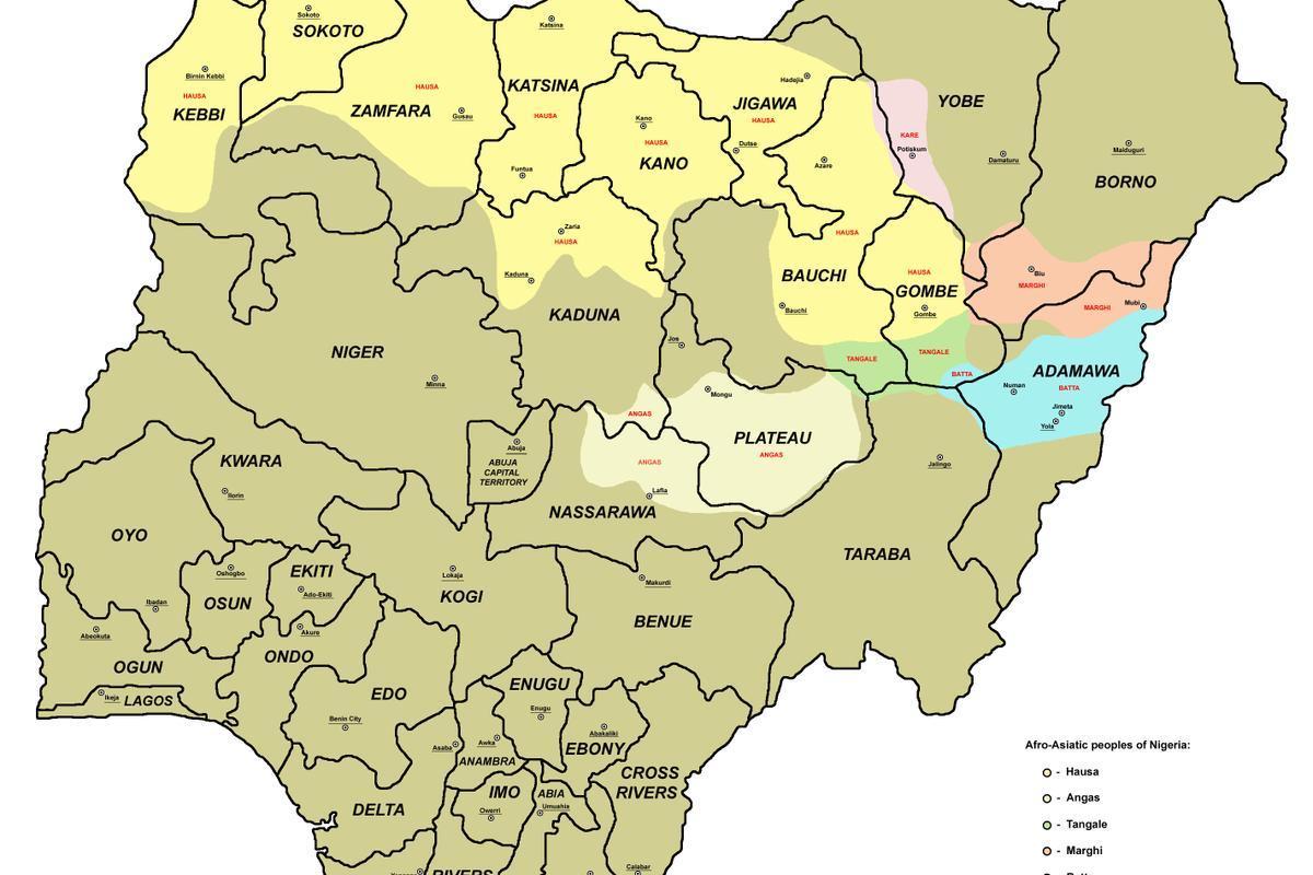nigeria kart Kart over nigeria med usa   Kart over nigeria med 36 stater (Vest  nigeria kart