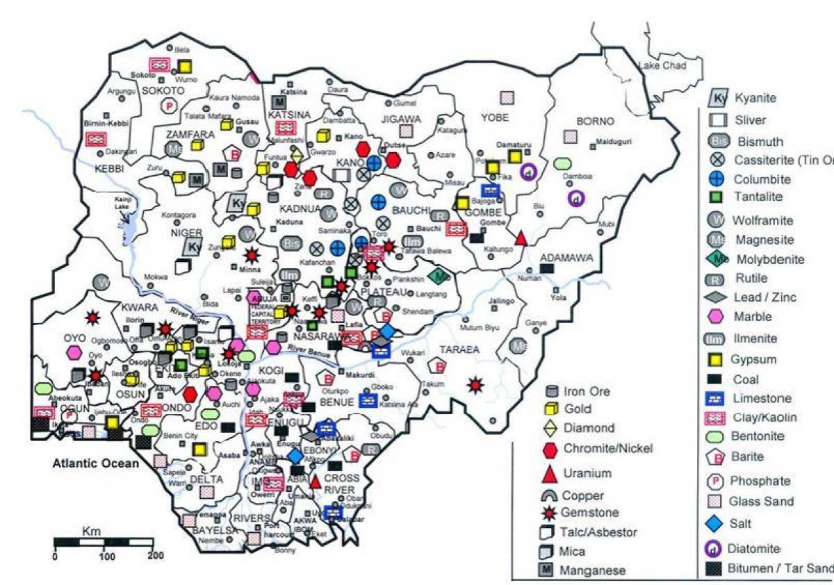 kart nigeria Kart over nigeria viser mineralske ressurser   Mineral kart over  kart nigeria